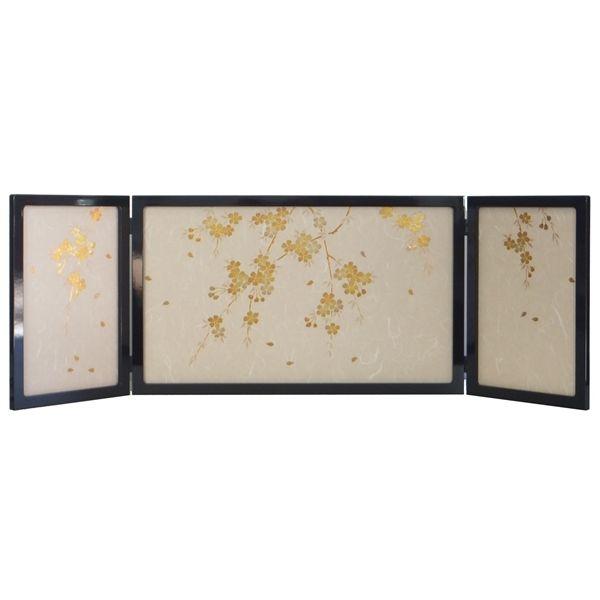 ひな人形 ひな道具 単品 部品 売り 三曲屏風 和らぎYM 60-25-03 黒枠淡彩桜 302080