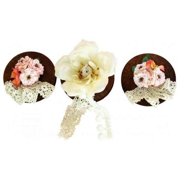 ひな人形 ひな道具 単品 部品 売り 花 桜橘 飾り フラン レース付 3点セット 111484