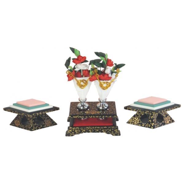 ひな人形 ひな道具 単品 部品 売り 前飾道具 二品道具 二品 3-7877 黒古代 128987