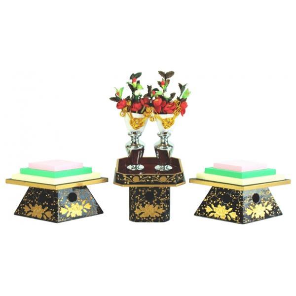 ひな人形 ひな道具 単品 部品 売り 前飾道具 二品道具 二品 菱三宝 極上盛上 木 164565