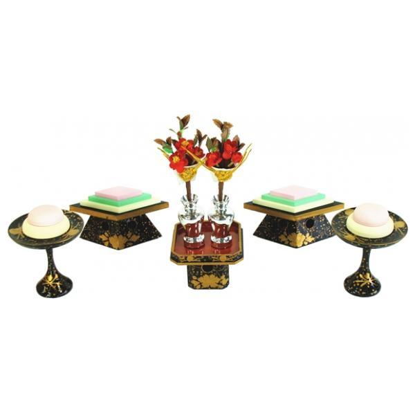 ひな人形 ひな道具 単品 部品 売り 前飾道具 三品道具 三品 菱高三方木製総盛上 167535