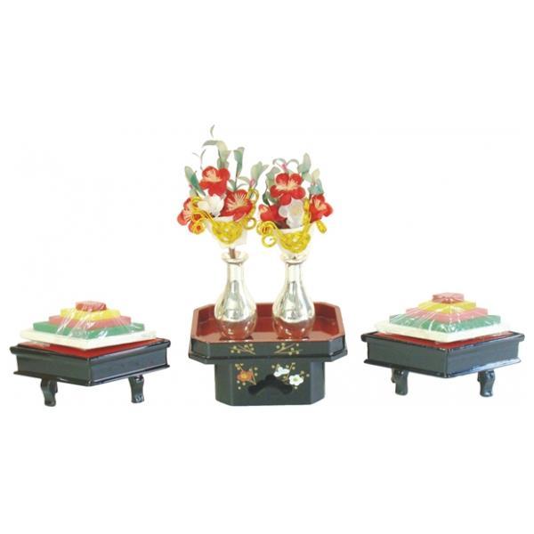 ひな人形 ひな道具 単品 部品 売り 前飾道具 二品道具 二品 菱三方 黒塗 507263