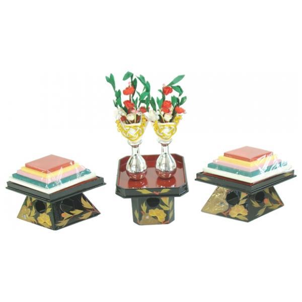 ひな人形 ひな道具 単品 部品 売り 前飾道具 二品道具 二品 三方菱台本金牡丹 870107