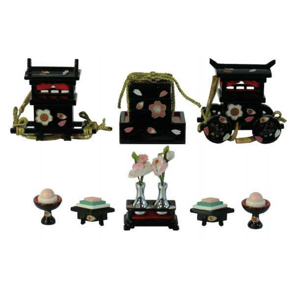 ひな人形 ひな道具 単品 部品 売り 前飾道具 六品道具 ミニ山鉾 金彩小桜 黒塗 111576