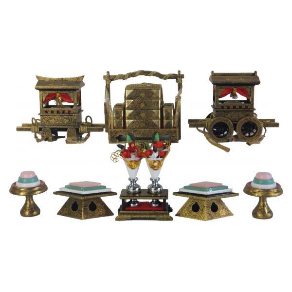 ひな人形 ひな道具 単品 部品 売り 前飾道具 六品道具 黒爪唐草 128765