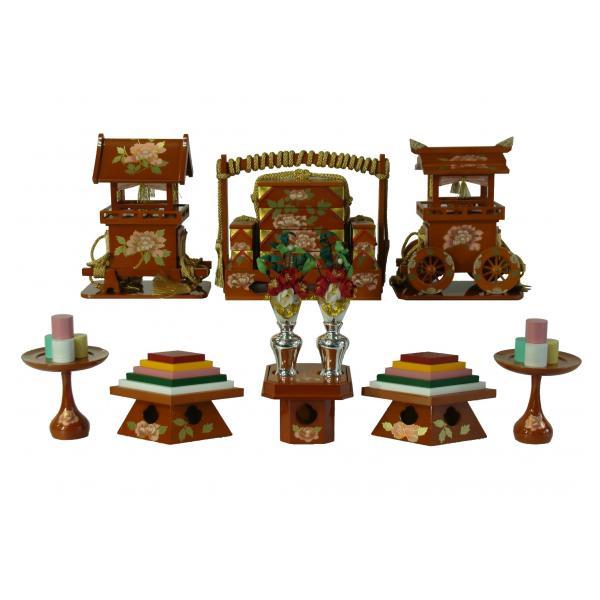 前飾道具 六品道具 ひな道具 単品 部品売り 35号 春慶に牡丹 129168