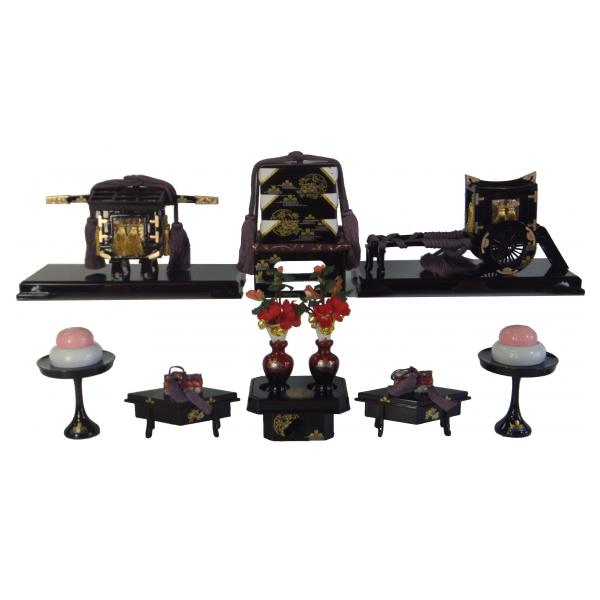 ひな人形 ひな道具 単品 部品 売り 前飾道具 六品道具 溜塗雪牡丹 桜 141030