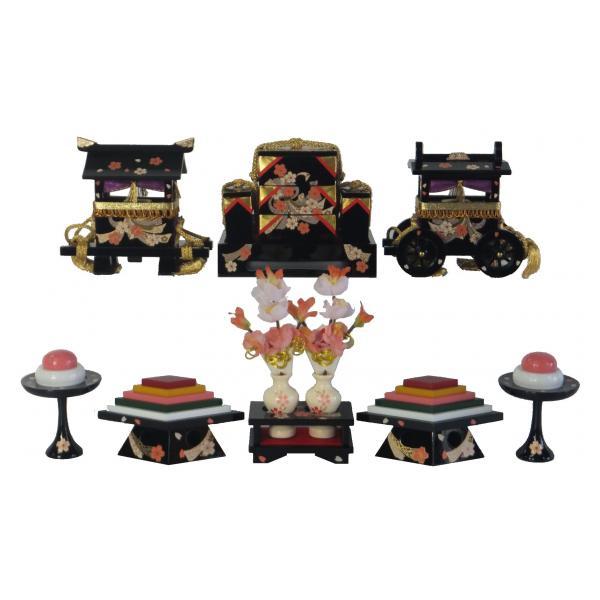 ひな人形 ひな道具 単品 部品 売り 前飾道具 六品道具 黒塗桜衣 146943