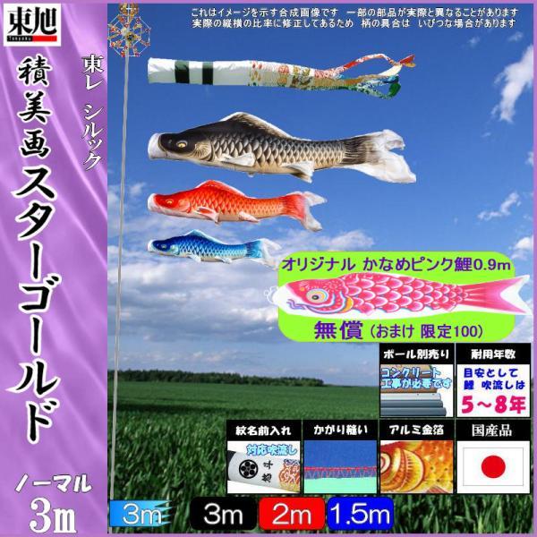 鯉のぼり 東旭 こいのぼりセット 積美画スターゴールド 3m6点 雲竜吹流し ノーマルセット 139556074