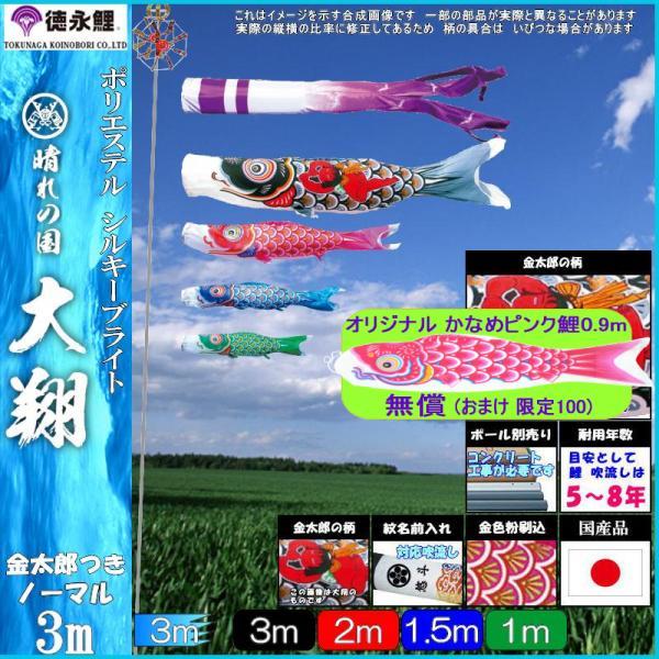 鯉のぼり 徳永 こいのぼりセット 大翔 3m7点 千羽鶴吹流し 金太郎つき ノーマルセット 139587167
