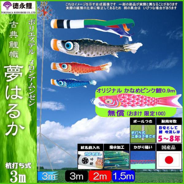 鯉のぼり 徳永 こいのぼりセット 夢はるか 庭園用ガーデンセット 杭打込み 3m6点 撥水加工 139587316