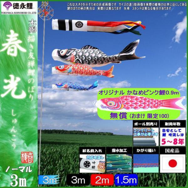 鯉のぼり 徳永鯉 3941 ノーマルセット 春光 3m3匹 春光吹流し 撥水加工 139587785