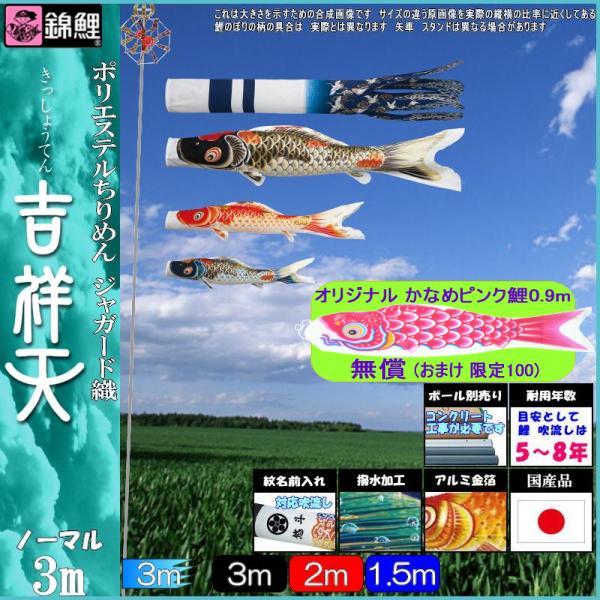 鯉のぼり 錦鯉 ノーマル 吉祥天 3m3匹 吉祥天吹流し 撥水加工 139600006