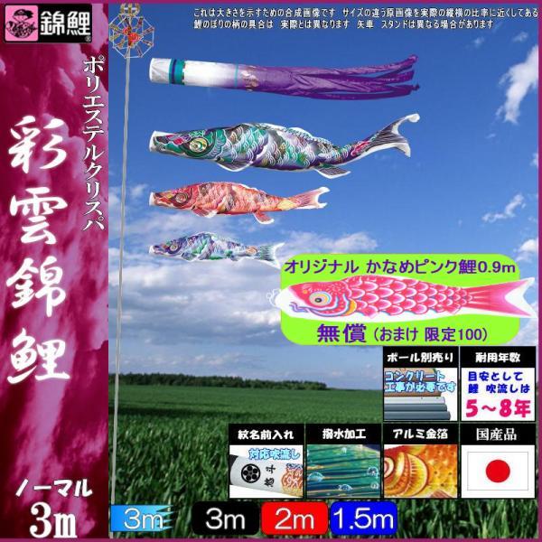鯉のぼり 錦鯉 ノーマル 彩雲錦鯉 3m3匹 彩雲吹流し 撥水加工 139600050