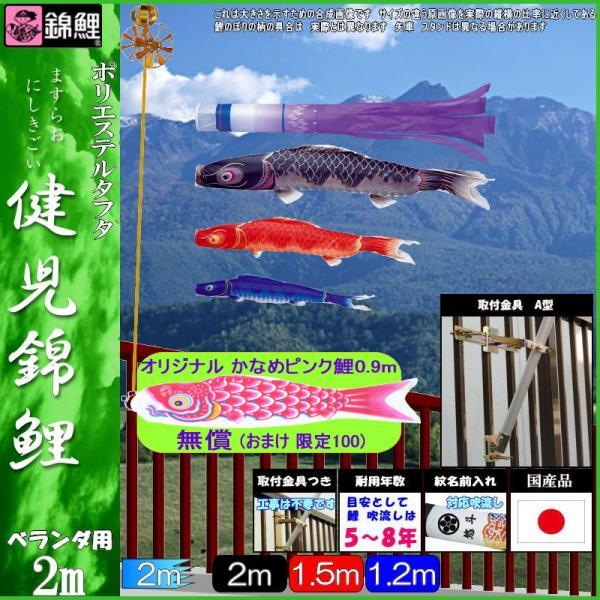 鯉のぼり 錦鯉 Hタイプマンション 健児錦鯉 2m3匹 瑞雲吹流し 139600723