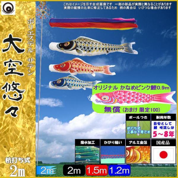 鯉のぼり 村上 こいのぼりセット 大空悠々 2m 五色吹流し ミニガーデンセット 撥水加工 265057442