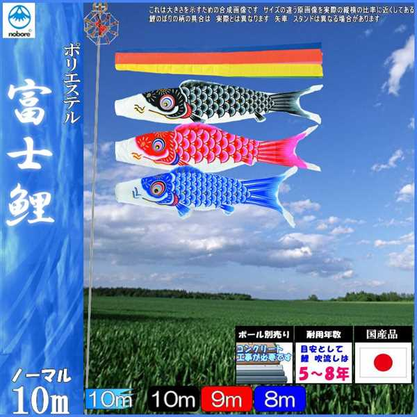 鯉のぼり フジサン こいのぼりセット 富士 10m6点 五色吹流し ノーマルセット 139631093