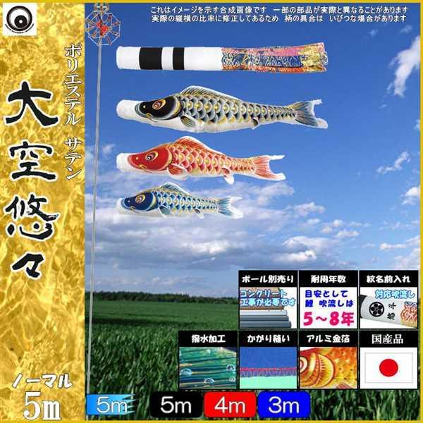 鯉のぼり 村上 こいのぼりセット 大空悠々 5m六点 翔龍吹流し 撥水加工 ノーマルセット 265057097