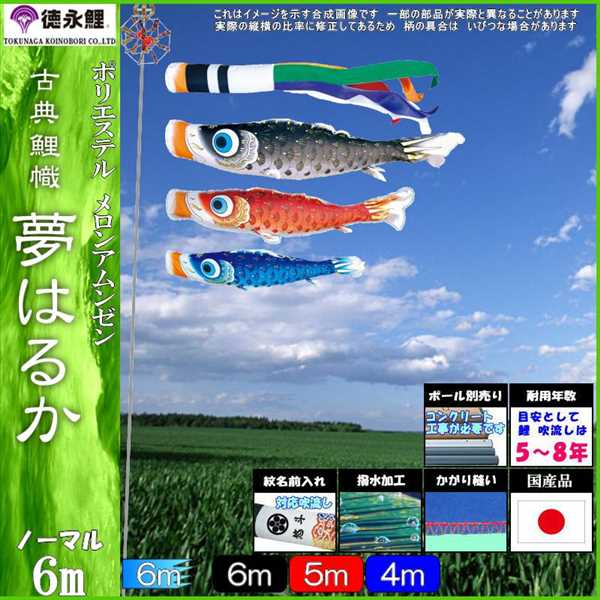 鯉のぼり 徳永 こいのぼりセット 夢はるか 6m6点 夢五色吹流し 撥水加工 ノーマルセット 139587121