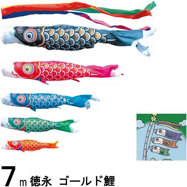 鯉のぼり 徳永 こいのぼりセット ゴールド鯉 7m8点 五色吹流し ノーマルセット 139587228
