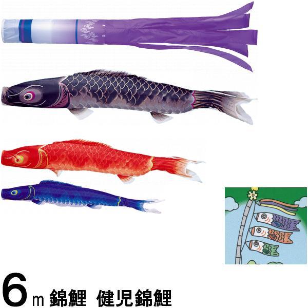 鯉のぼり 錦鯉 ノーマル 健児錦鯉 6m3匹 瑞雲吹流し 139600153