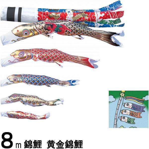 鯉のぼり 錦鯉 ノーマル 黄金錦鯉 8m5匹 金太郎つき 飛龍吹流し 139600181
