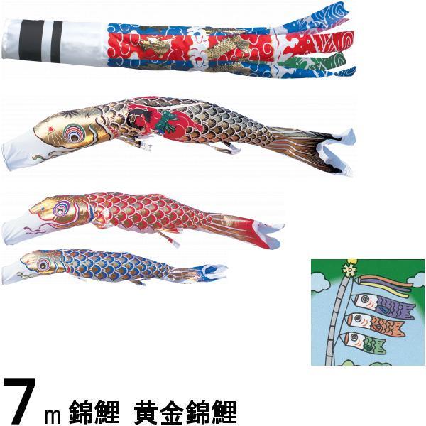鯉のぼり 錦鯉 ノーマル 黄金錦鯉 7m3匹 金太郎つき 飛龍吹流し 139600186
