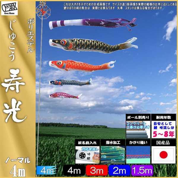 鯉のぼり キング印鯉 7511740 ノーマルセット 寿光撥水 4m4匹 寿光撥水吹流し 撥水加工 139730656