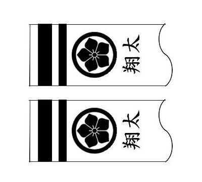 鯉のぼり フジサン鯉 家紋名前入れ 3m パターン3 黒 同じ家紋と名前 両面1ヶずつ 139648908