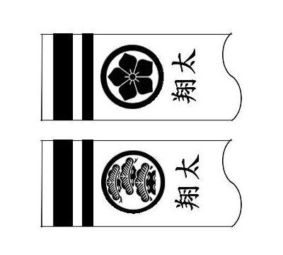 鯉のぼり フジサン鯉 家紋名前入れ 3m パターン4 黒 異なる家紋と名前 両面1ヶずつ 139648909