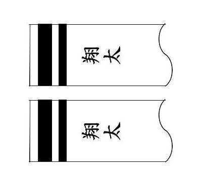 鯉のぼり フジサン鯉 家紋名前入れ 4m以上 パターン6 黒 同じ名前 縦向き 縦書き 両面1ヶずつ 139648905