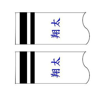 鯉のぼり 村上鯉 家紋名前入れ 4m以上 パターン2 青 同じ名前 横向き 横書き 両面1ヶずつ 139624916