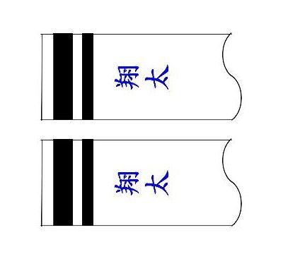 鯉のぼり 村上鯉 家紋名前入れ 3m以下 パターン3 青 同じ名前 縦向き 縦書き 両面1ヶずつ 139624912