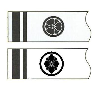 鯉のぼり 徳永鯉 家紋名前入れ 全サイズ パターンF2 黒 異なる家紋 両面1ヶずつ 139594901