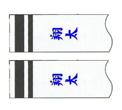 鯉のぼり 徳永鯉 家紋名前入れ 全サイズ パターンF6 青 同じ名前 縦書き 両面1ヶずつ 139594917