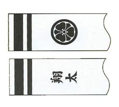 鯉のぼり 徳永鯉 家紋名前入れ 全サイズ パターンF8 黒 片面家紋 片面名前 縦書き 139594909