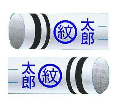 鯉のぼり 渡辺鯉 家紋名前入れ 2.5m以上 3m以下 パターンK-S 青 同じ家紋と名前 横向き 縦書き 両面1ヶずつ 139617939
