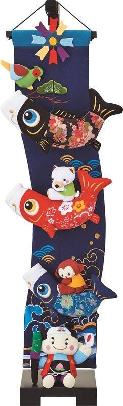 室内鯉 つるし飾り 鯉と桃太郎 中 5-S37 スタンド付き 146912007