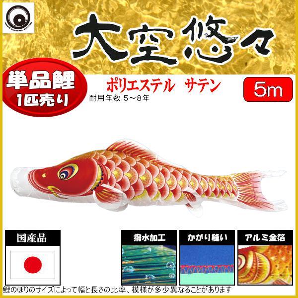 鯉のぼり 村上鯉 こいのぼり単品 大空悠々 撥水加工 赤鯉 5m 139624046