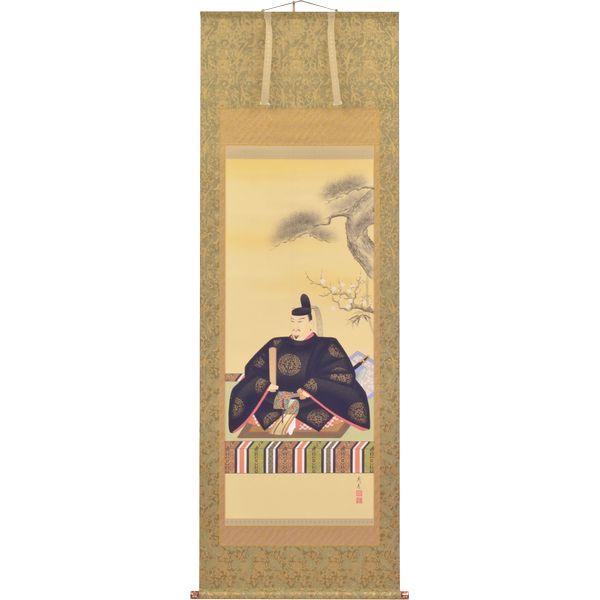 掛軸 翠峰オリジナル 天神様 尺八 義彦 京正表具 太巻 軸先九谷焼 140828