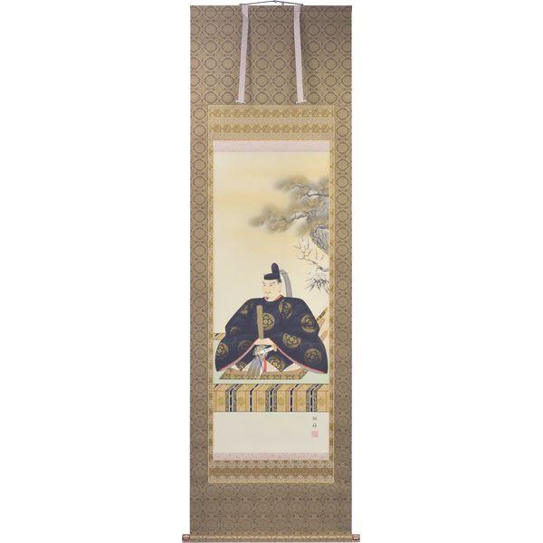掛軸 翠峰オリジナル 天神様 尺五 銀嶺 軸先九谷焼 145823