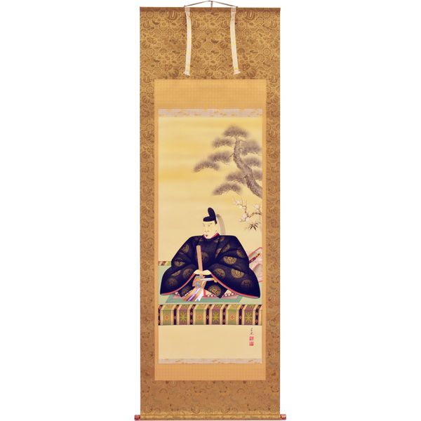 掛軸 翠峰オリジナル 天神様 尺八 千里 京正表具 宇陀 太巻 軸先九谷焼 塗箱つき 254846