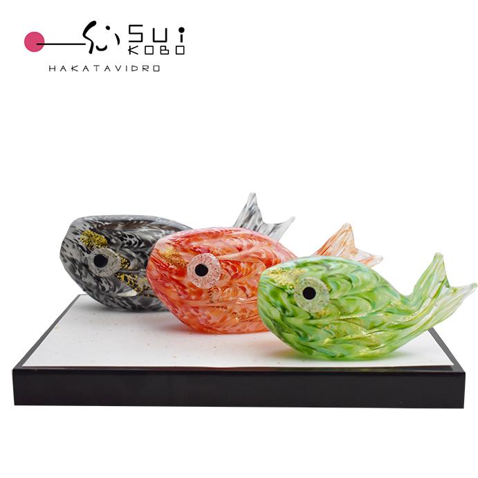 ガラスの鯉のぼりセット GK-14 博多びーどろ粋工房 安部 朝和作 端午の節句や初節句の贈答品にぴったりのコンパクトな鯉のぼりセット 五月人形【楽ギフ_のし] 】