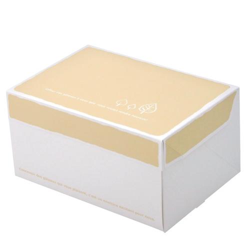 【日本製】ケーキ箱 サービス箱 リーフ柄 (内寸150×105×110H) 300個【ケーキ プリン 箱 持ち運び ラッピング】【出し入れしやすい横開き】