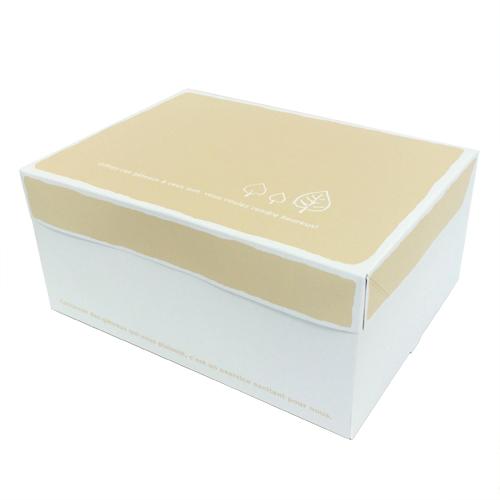 【日本製】ケーキ箱 サービス箱 リーフ柄 (内寸240×180×110H) 200個【ケーキ プリン 箱 持ち運び ラッピング】【出し入れしやすい横開き】