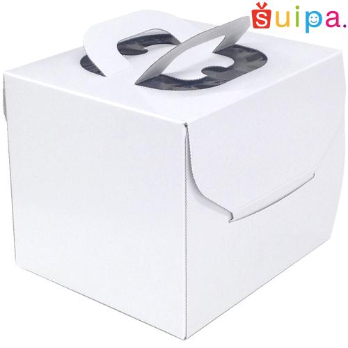 【送料無料】【デコレーションケーキ箱】【日本製】キャリーデコケーキ箱 4号(内寸151×151×140H)100個【ホールケーキ プリン 箱 持ち運び ラッピング】【出し入れしやすい横開き】【保冷剤スペース有】