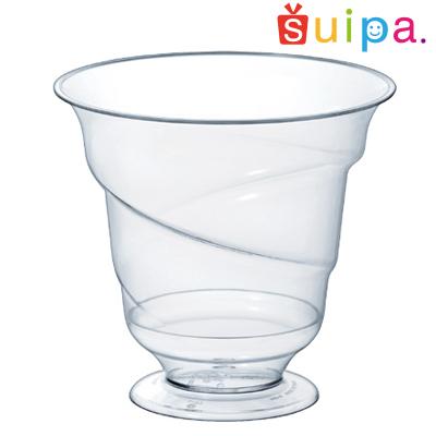【送料無料】【パフェ グラス風 プラスチック】【日本製】PS 80-160 トルネードパフェカップ 600個 【高級感のある脚付きカップ】【パフェカップ】