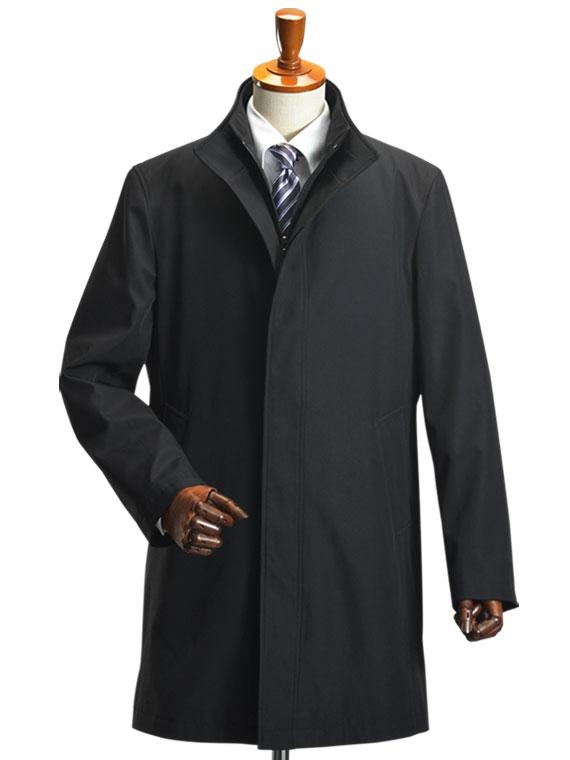 【AB体 Sサイズ限定】スタンドカラーコート 2枚衿 レイヤード キルティングライナー着脱 ボンディング素材 メンズ ビジネスコート 送料無料 (syobun)