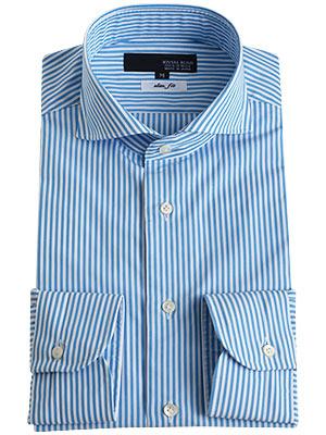 【日本製・綿100%】ホリゾンタルカラーメンズドレスシャツ/サックスストライプ【JOVIAL RUSH】(ワイシャツ 長袖 ビジネス Yシャツ ブルー系)