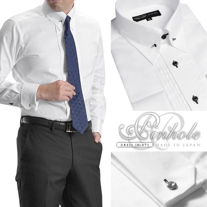 ドレスシャツ メンズ 日本製 綿100% 新作 ピンホールカラー ピンタック 【Le orme】ホワイト ダブルカフス 長袖